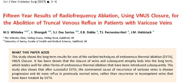 15 year results prove varicose vein surgery - endovenous radiofrequency - The Whiteley Clinic