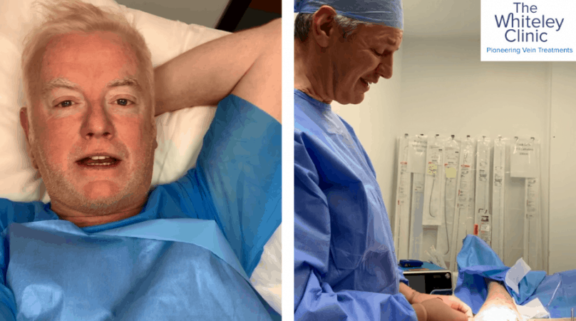 Chris Evans during his varicose vein treatment at The Whiteley Clinic in London, performed by Prof. Mark Whiteley.