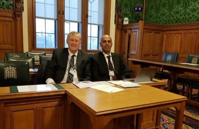 Barrie Price Consultant Vasuclar Surgeon and Trustee of The Leg Ulcer Charity with Manj Gohel at Vascular and Venous All-Party Parliamentary Group in Westminster December 2018