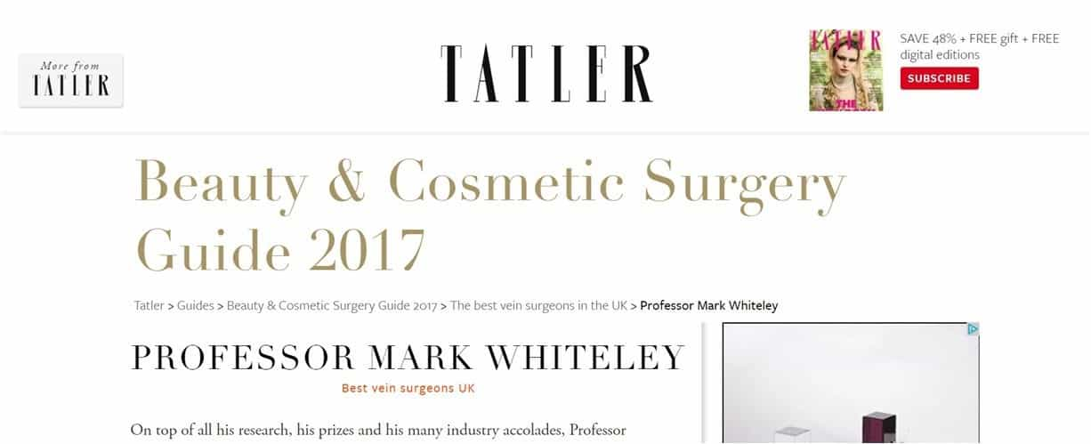 Best vein surgeons in UK in Tatler Beauty and Cosmetic Surgery Guide 2017