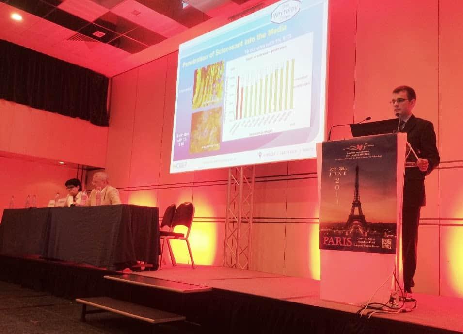 Chris Lee presenting his research at the European Venous Forum Paris 2014