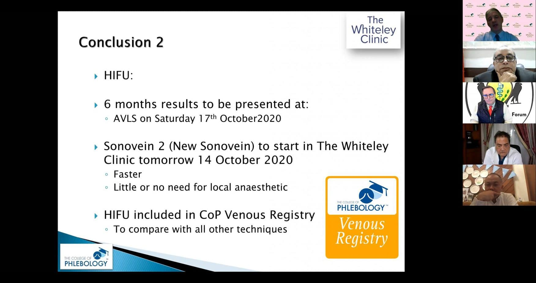 Conclusion of keynote lecture on varicose veins ablation