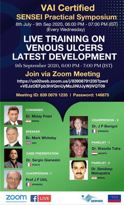 Curing Venous Leg Ulcers – Lecture by Prof Mark Whiteley as part of VAI SENSEI program 9 September 2020
