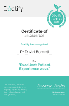 Doctify has recognised Dr David Beckett for his Excellent Patient Experience