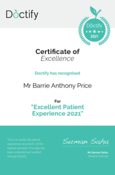 Doctify has recognised Mr Barrie Price for his Excellent Patient Experience