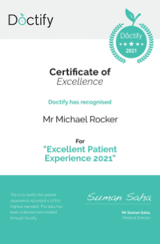 Doctify has recognised Mr Michael Rocker for his Excellent Patient Experience