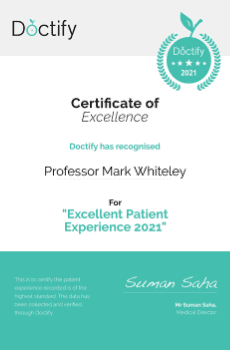 Doctify has recognised Professor Mark Whiteley for his Excellent Patient Experience