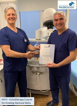 Dr Dragan Vasic completes the College of Phlebology HIFU Echotherapy course for treating varicose veins with Prof Mark Whiteley – 16 September 2019