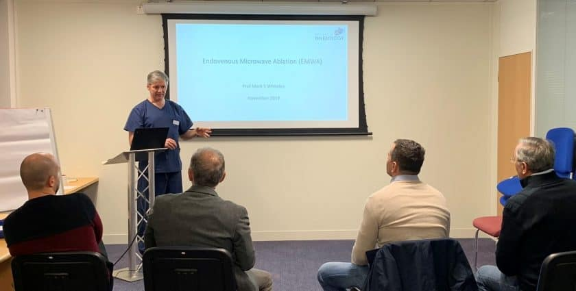 Endovenous Microwave Course November 2019 – Prof Mark Whiteley lecturing – College of Phlebology November 2019