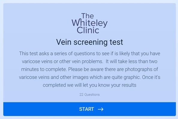 FREE Vein Screening Online – introduction page – The Whiteley Clinic