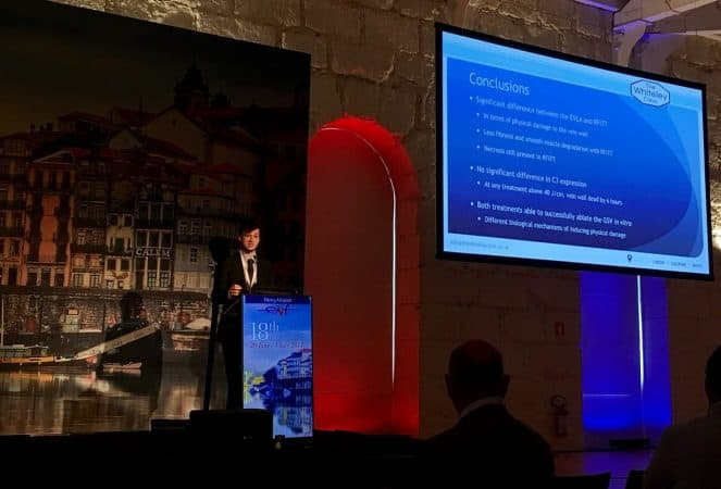 Harry Ashpitel presenting at European Venous Forum 2017 - endovenous laser v radiofrequency effects on the varicose vein wall