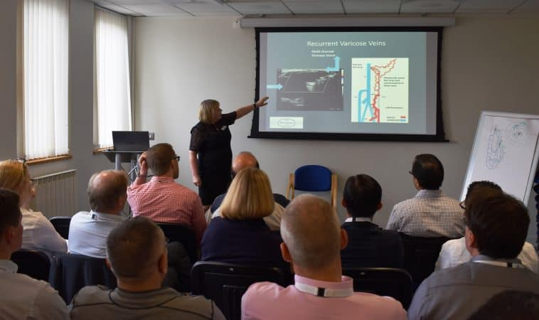 Judy Holdstock lecturing on recurrent varicose veins during The Whiteley Clinic Angiodynamics course 19-20 May 2016