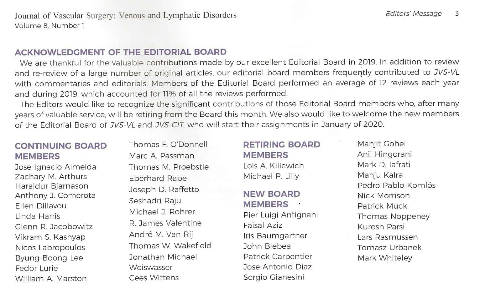 Mark Whiteley – New editorial board member of The Journal of Vascular Surgery Venous and Lymphatic Disorders (JVSVL) – Announced January 2020