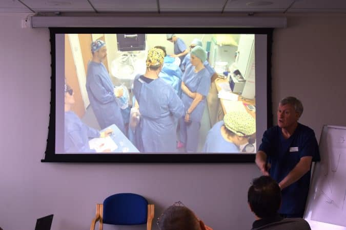 Mr Barrie Price explaining endovenous techniques for varicose veins during live operating at The Whiteley Clinic Angiodynamics course 19-20 May 2016