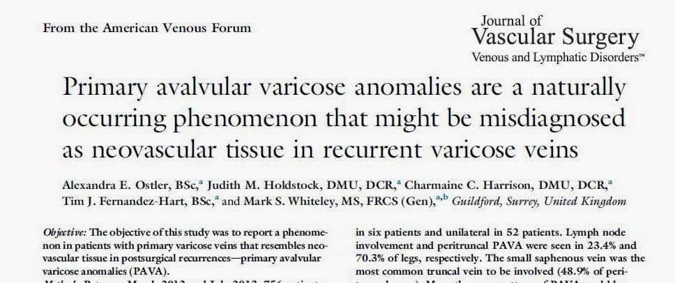 PAVA Primary Avalvular Varicose Anomalies first described by The Whiteley Clinic 2014