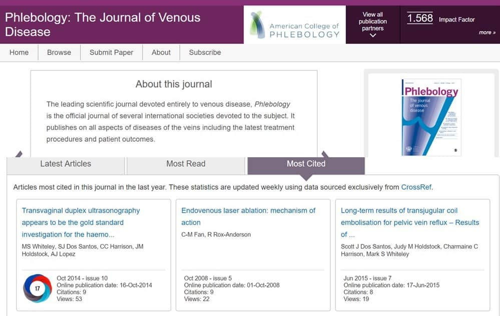 Pelvic congestion and pelvic varicose veins research from The Whiteley Clinic tops most cited articles in Phlebology 12 Feb 2018