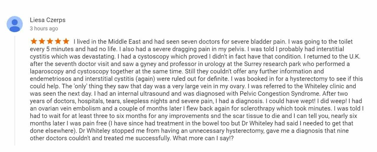 Pelvic congestion syndrome - pelvic pain cure - 5 star patient review for The Whiteley Clinic - 12 Nov 2017