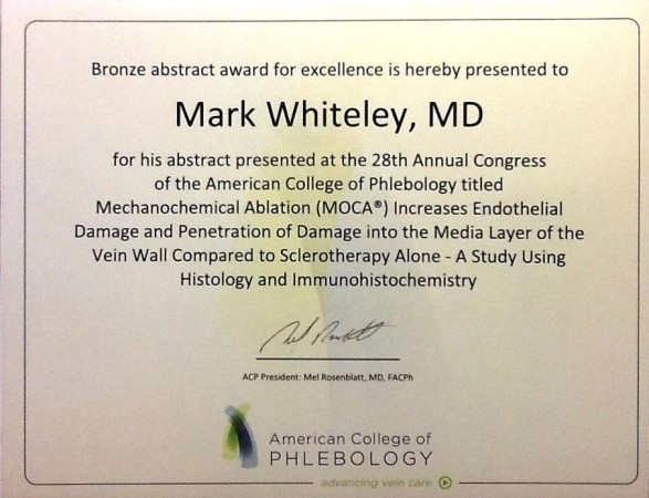 Prof Mark Whiteley Bronze Abstract Award for The Whiteley Clinic research into treating Varicose Veins at the American College of Phlebology Nov 2014