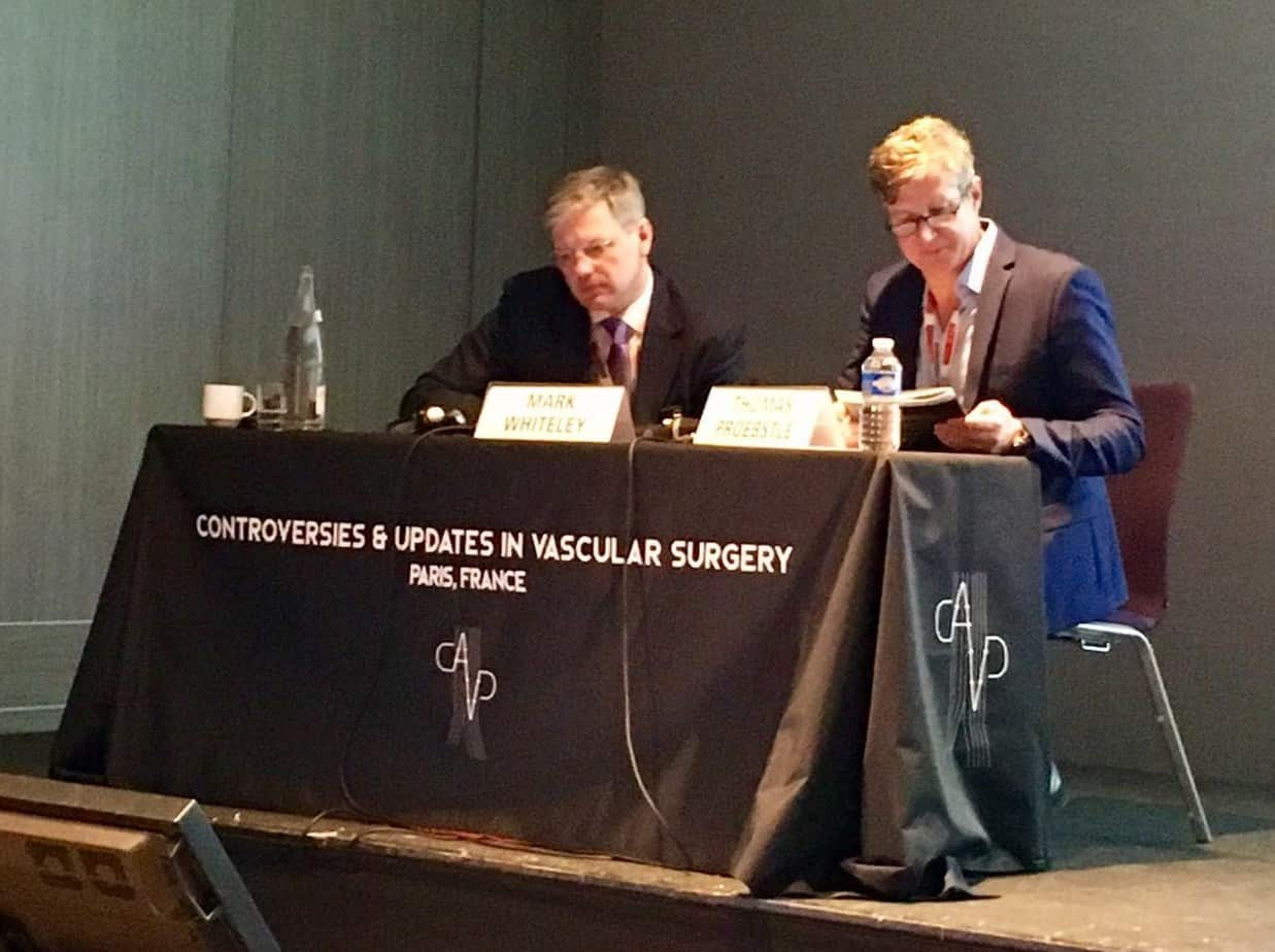 Prof Mark Whiteley and Dr Thomas Proebstle chairing the varicose veins session in Paris at CACVS Jan 2017