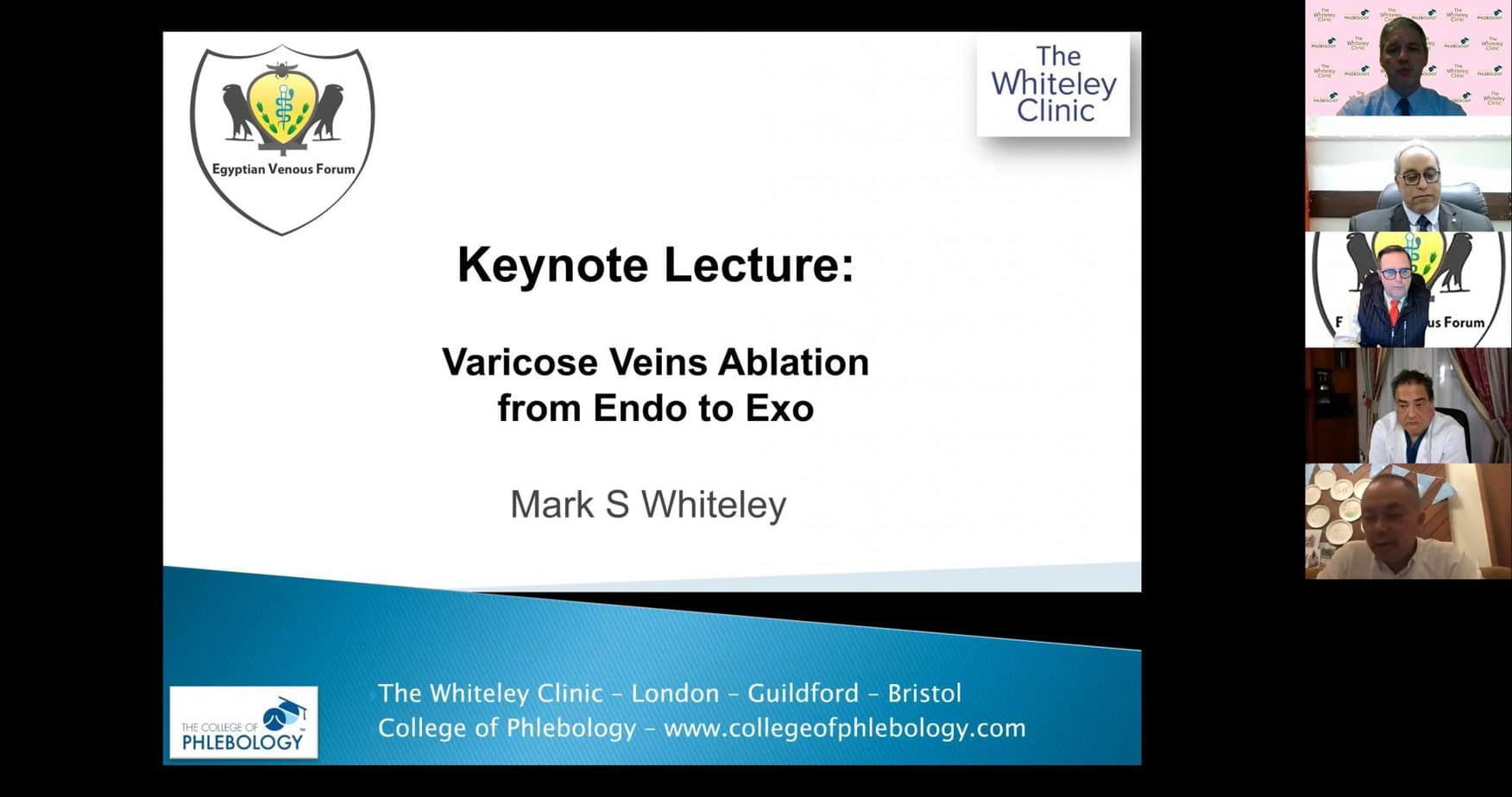 Prof Mark Whiteley giving Keynote Lecture on Varicose Veins Ablation – From Endo to Exo