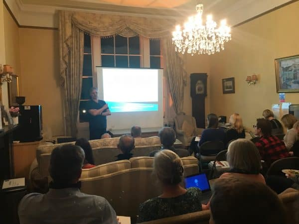 Prof Mark Whiteley giving lecture Legal implications of failure to recognise and refer patients suffering from leg ulcers - 15 Nov 2018 - Litfield House, Bristol