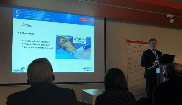 Prof Mark Whiteley giving one of his 4 lectures on varicose veins and pelvic congestion syndrome in Madrid - 23 November 2018