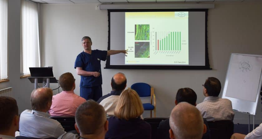 Prof Mark Whiteley lecturing about immunohistochemistry research in varicose veins on The Whiteley Clinic Angiodynamics course 19-20 May 2016