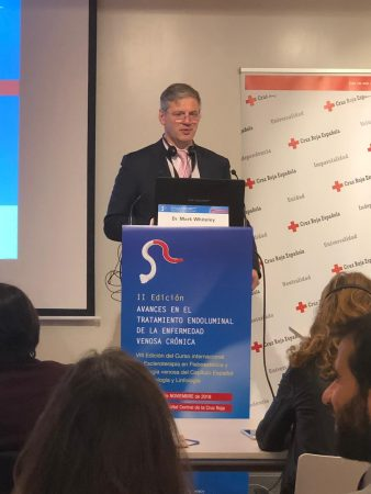 Prof Mark Whiteley lecturing at the Eighth International Course on Sclerotherapy in Phlebaesthetics and Venous Pathology of the Spanish Chapter of Phlebology and Lymphology