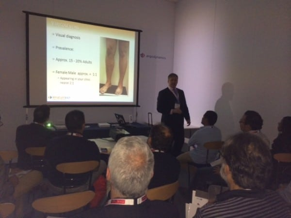 Prof Mark Whiteley lecturing on EVLT for Varicose Veins at CIRSE on 14th September 2014