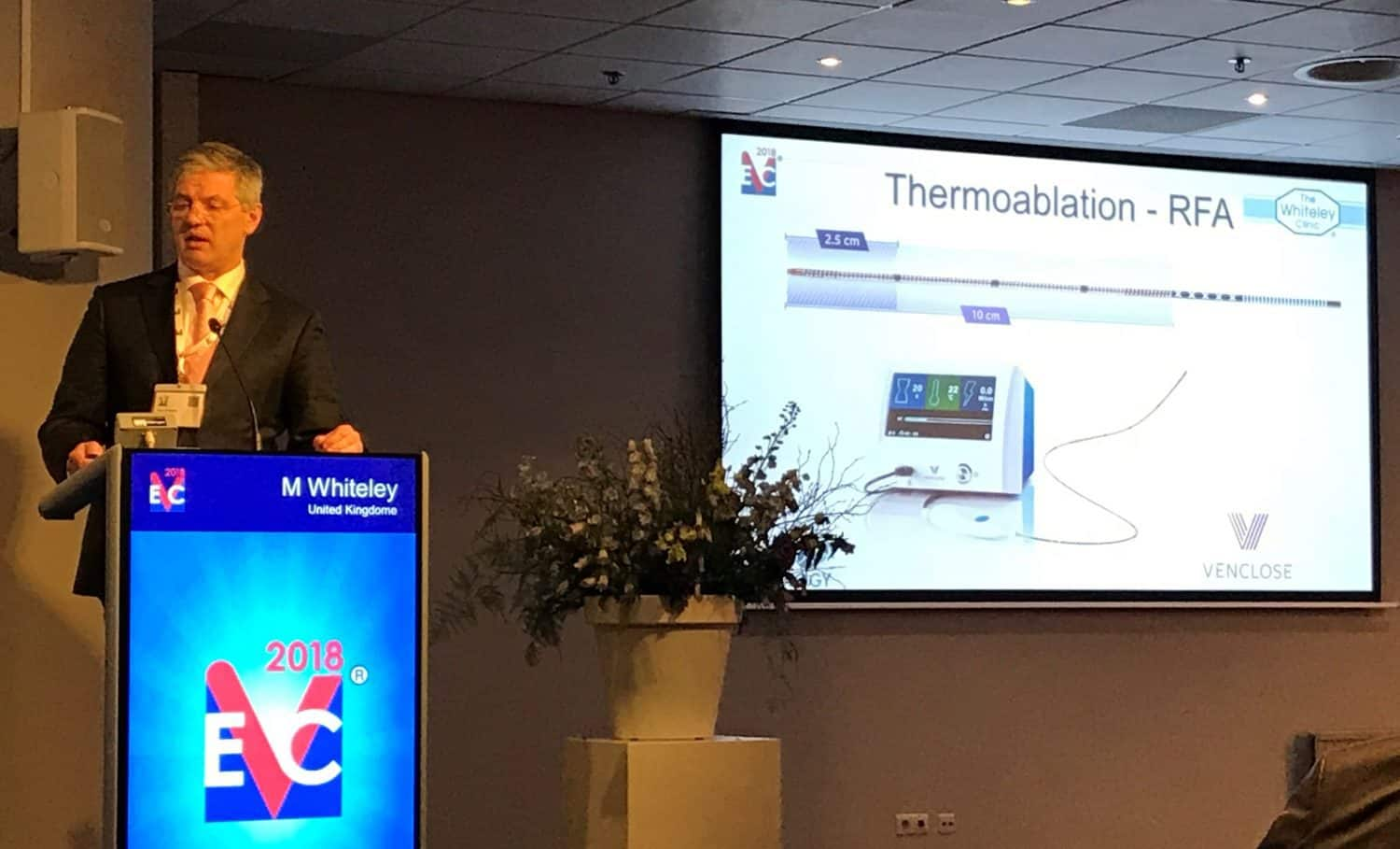 Prof Mark Whiteley lecturing on new treatments for varicose veins in 2018 at the EVC in Maastricht 2018 - Venclose - a new radiofrequency ablation device for treating varicose veins
