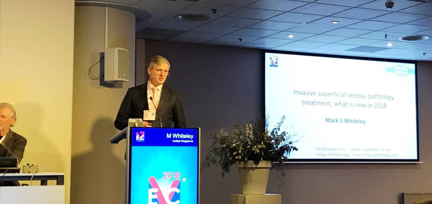 Prof Mark Whiteley lecturing on new treatments for varicose veins in 2018 at the EVC in Maastricht 2018