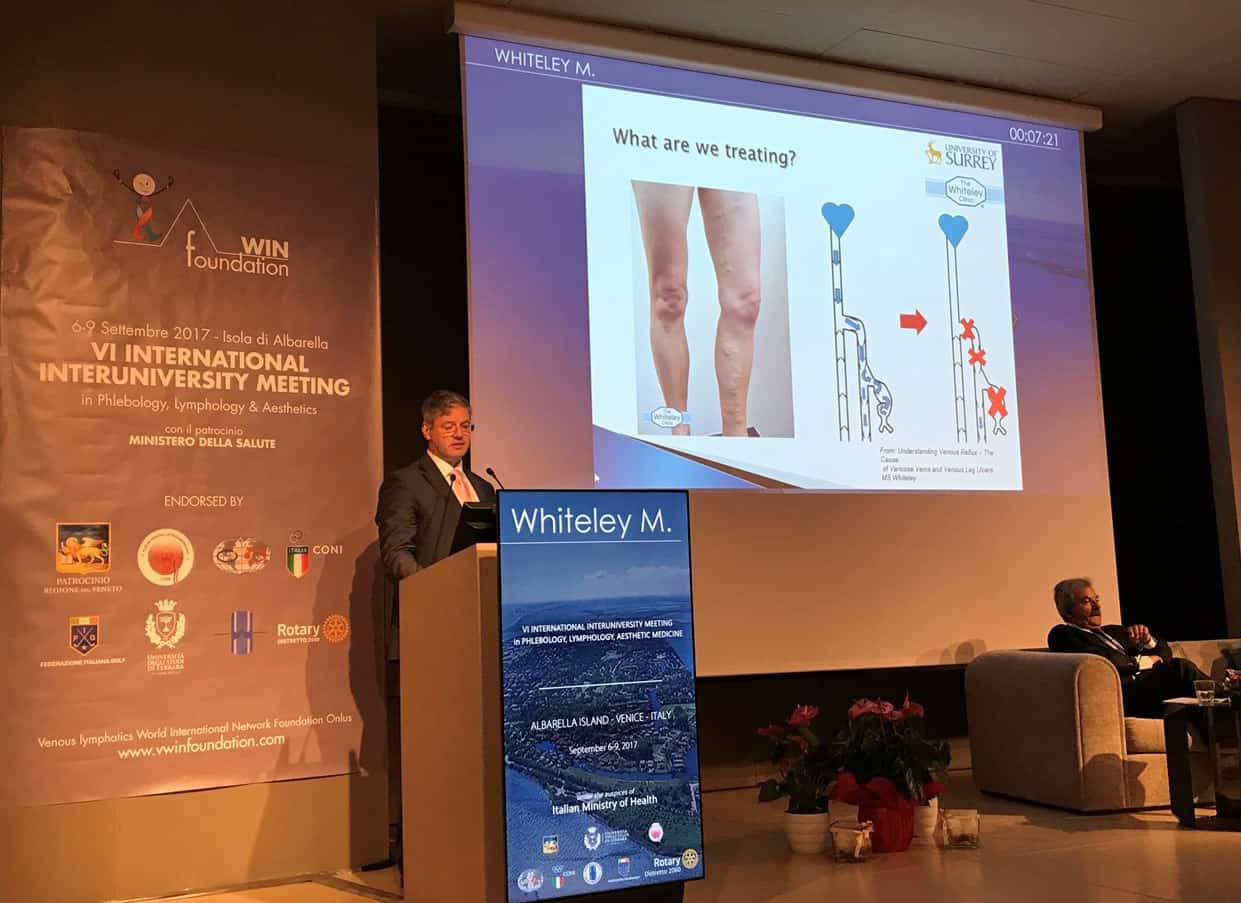 Prof Mark Whiteley lecturing on sclerotherapy laser and radiofrequency varicose veins treatments in Venice Italy September 2017