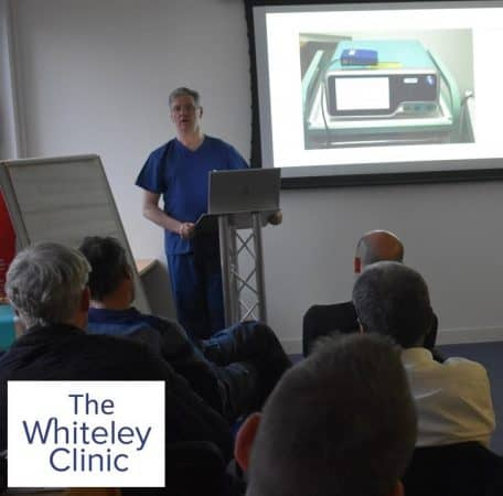 Prof Mark Whiteley lecturing on the 1st Endovenous Microwave Course in Europe for varicose veins treatment