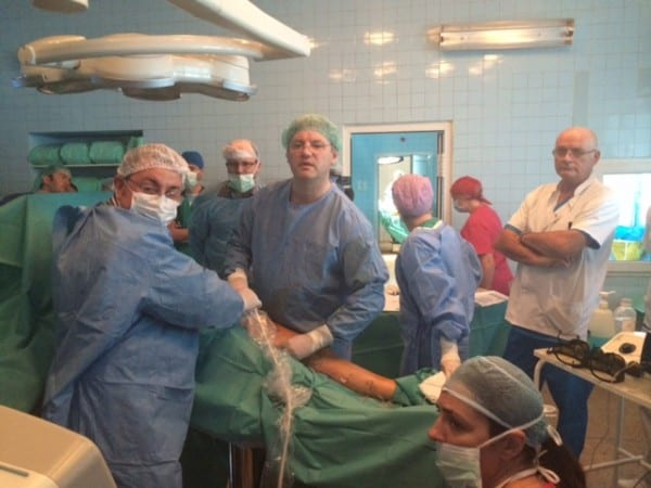Prof Mark Whiteley operating with EVLT Venacure at varicose vein workshop in Timisoara 1st Oct 2014