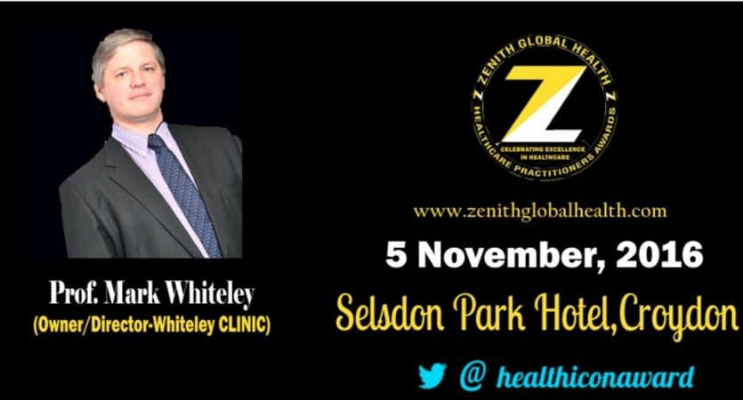 Prof Mark Whiteley special recognition award from Zenith Global Health - 5 Nov 2016