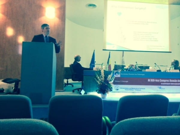 Prof Mark Whiteley lecturing at varicose vein workshop in XIII Romanian Congress of Phlebology Timisoara 1st Oct 2014 lecture