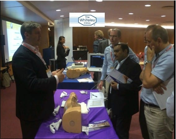 Prof Mark Whiteley teaching doctors about Clarivein MOCA for Varicose Veins treatment at CIRSE in Lisbon 26 Sept 2015