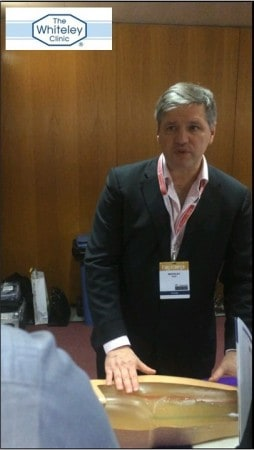 Prof Mark Whiteley teaching doctors about Clarivein MOCA for Varicose Veins treatment at CIRSE in Lisbon