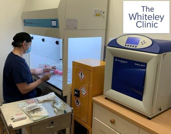 Prof Mark Whiteley working in The Whiteley Clinic research laboratory for venous disease and treatment 6 Feb 2021