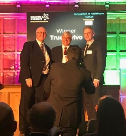 Prof Whiteley with Trueinvivo winners of the Innovation in Healthcare Award - Human - Guildford - December 2018