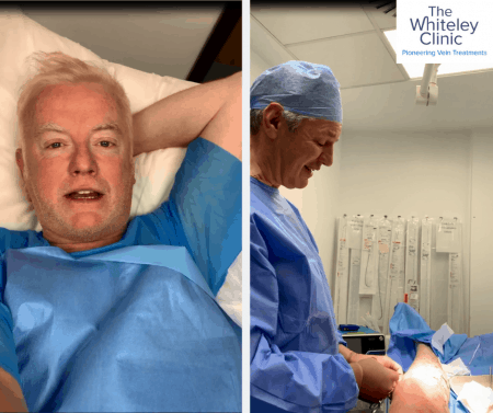 Chris Evans of Virgin Radio UK's Breakfast Show during his Micrwave Ablation treatment performed by Prof. Mark Whiteley at The Whiteley Clinic in London.