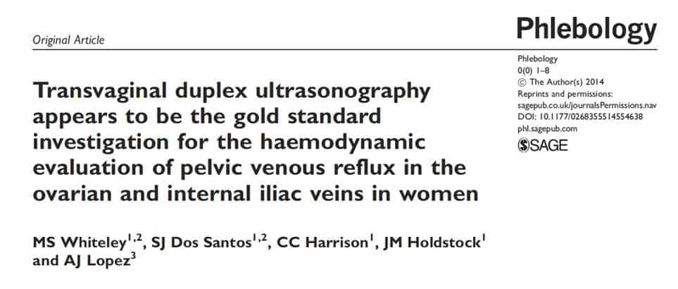 Transvaginal duplex ultrasound scanning (TVS) - research showing TVS is the best test for pelvic varicose veins and pelvic congestion