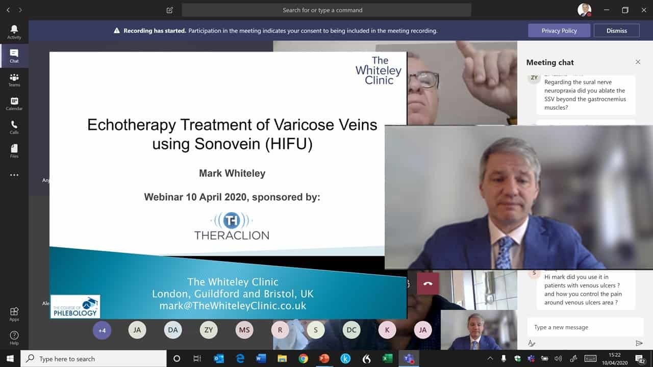 Varicose veins treatment with HIFU Echotherapy Sonovein Covid-19 Webinar 10 April 2020 – Mark Whiteley
