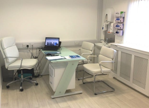 Consulting room at The Whiteley Clinic in East Grinstead at McIndoe Hospital - First clinic 25th September 2014