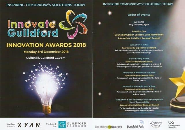 Whiteley Clinic sponsors Innovation in Healthcare Award - December 2018