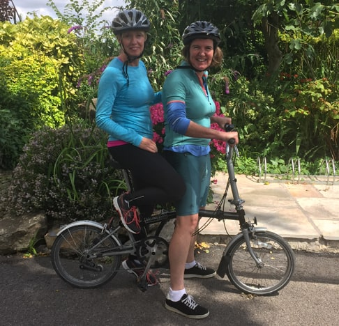 Amanda and Rachel Cycling - Leg Ulcer Charity