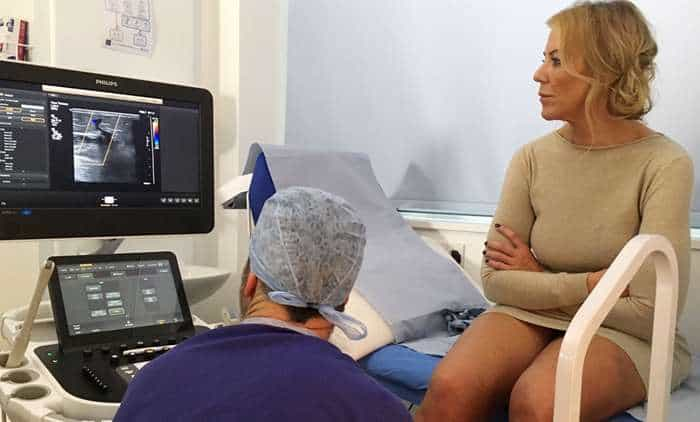 Varicose veins being treated on TV at The Whiteley Clinic on